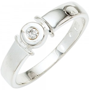 Damen-Ring 925 Sterling Silber 1 Diamant-Brillant 0,04ct.